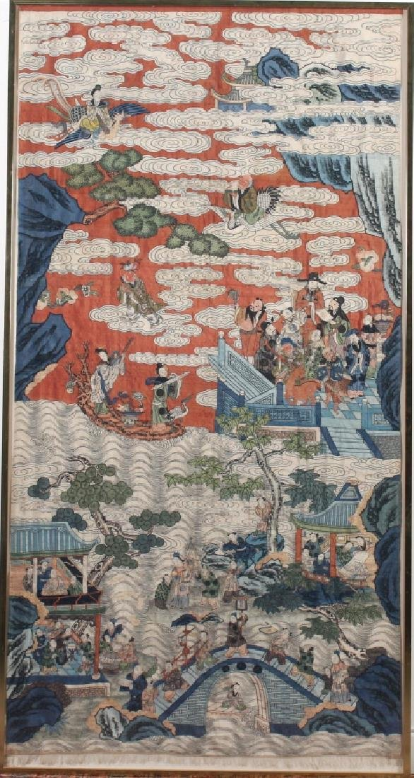Elaborate Chinese Embroidered Silk Tapestry Panel