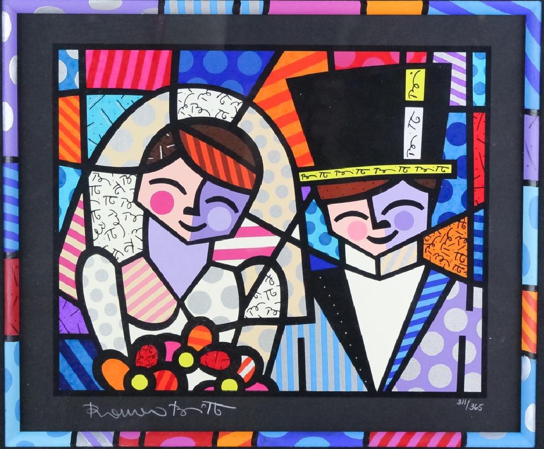 Romero Britto b.1963 Pop Art LE Wedding Serigraph