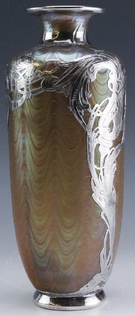 LOETZ Silver Overlay Aeolus Glass Vase SIGNED - 10