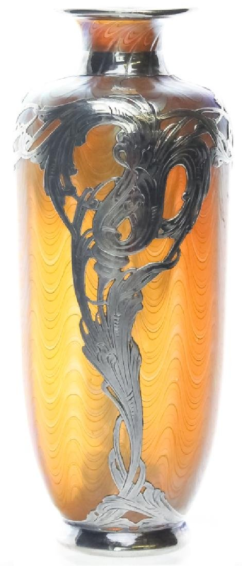 LOETZ Silver Overlay Aeolus Glass Vase SIGNED - 2