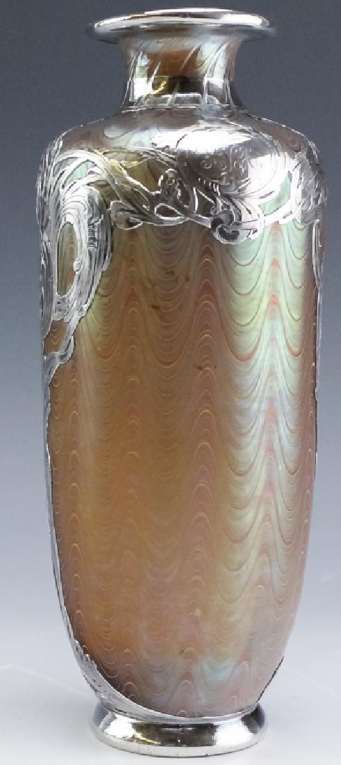 LOETZ Silver Overlay Aeolus Glass Vase SIGNED - 5