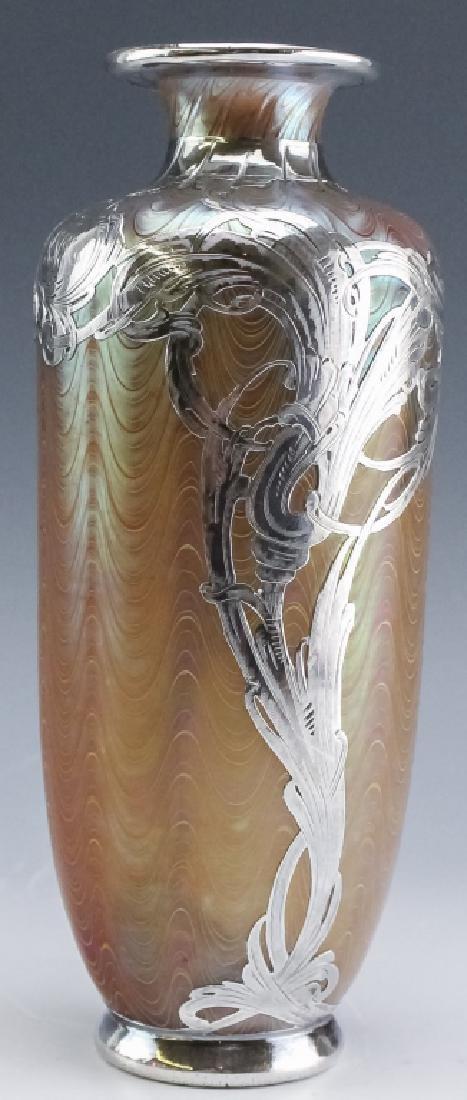 LOETZ Silver Overlay Aeolus Glass Vase SIGNED - 6