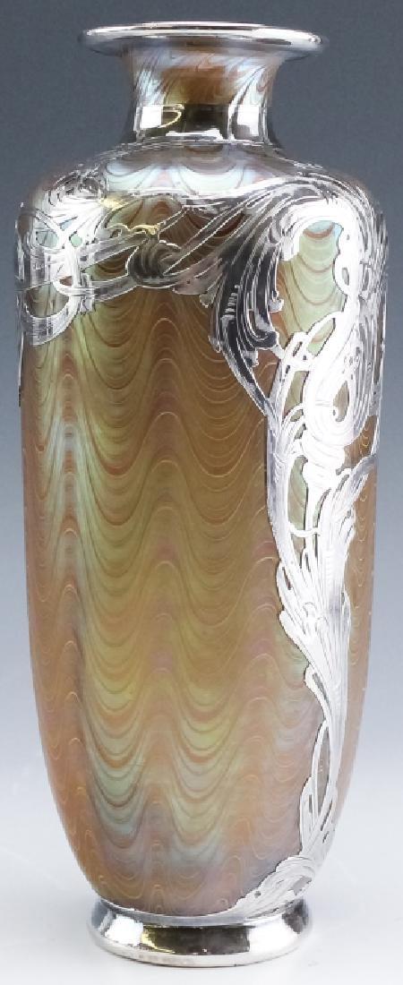 LOETZ Silver Overlay Aeolus Glass Vase SIGNED - 7