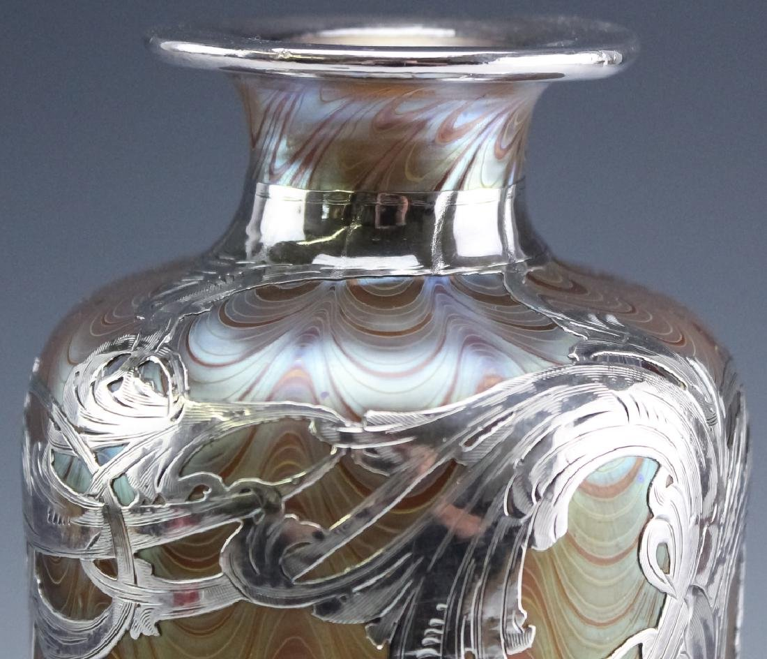 LOETZ Silver Overlay Aeolus Glass Vase SIGNED - 8