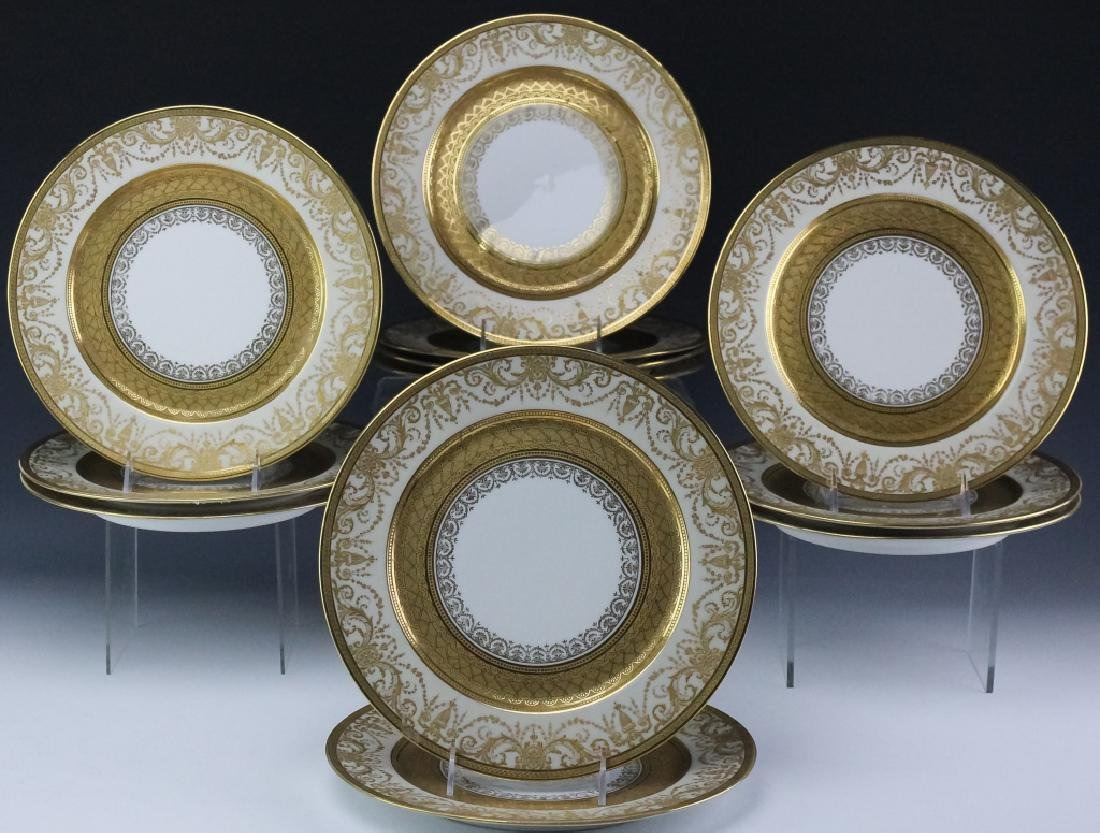 12 Guerin & Co Limoges Porcelain Dinner Plates SET