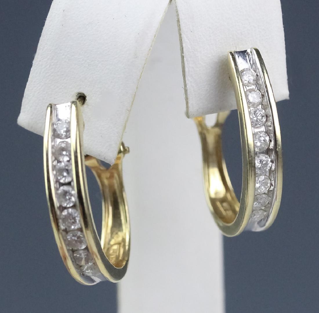 Ladies 14k Gold 1 1/3 Ct TW Diamond Hoop Earrings