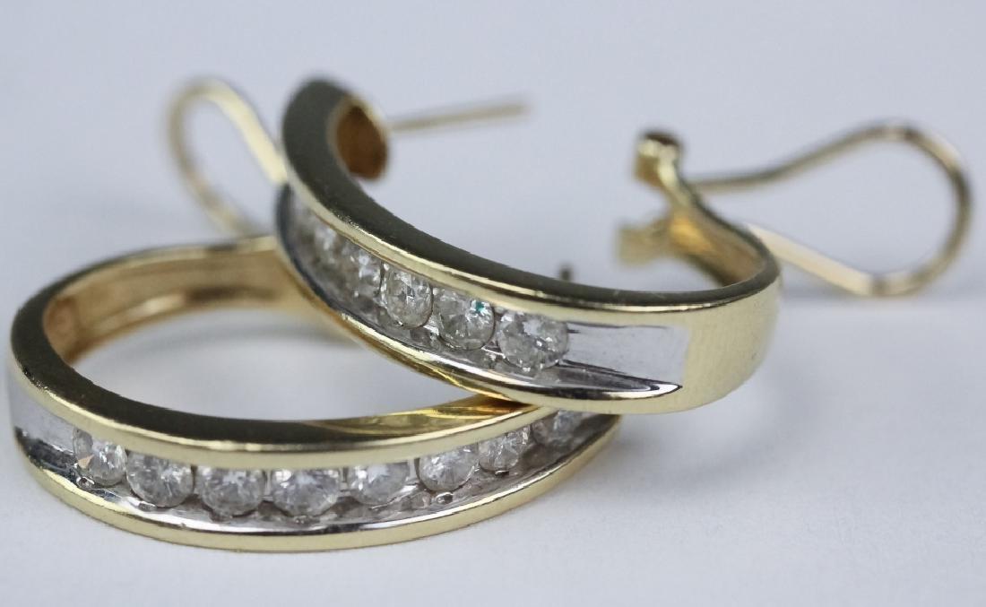 Ladies 14k Gold 1 1/3 Ct TW Diamond Hoop Earrings - 3