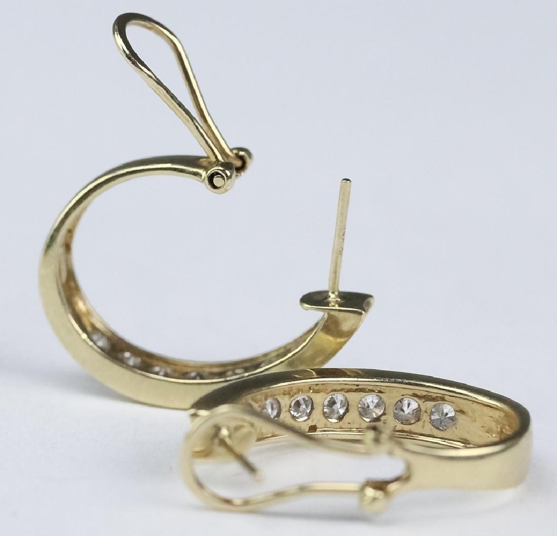 Ladies 14k Gold 1 1/3 Ct TW Diamond Hoop Earrings - 5