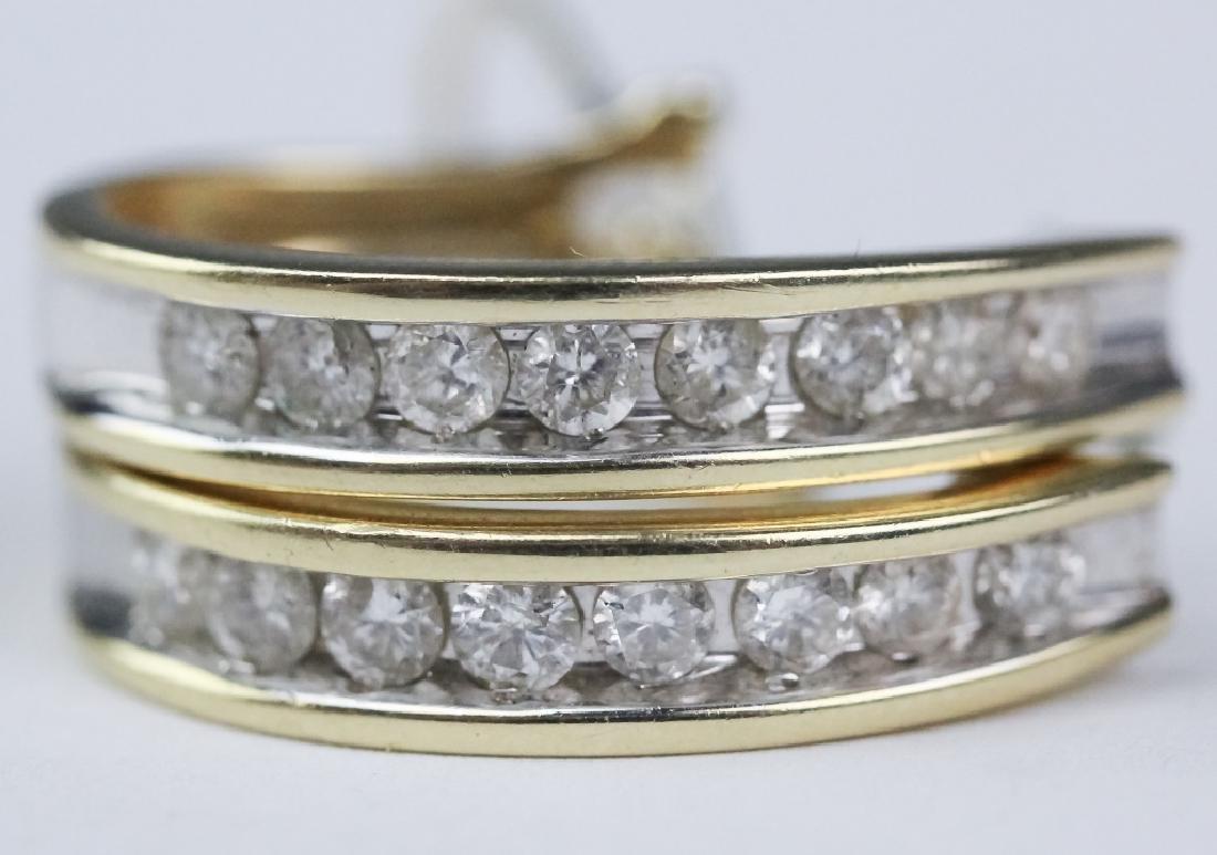 Ladies 14k Gold 1 1/3 Ct TW Diamond Hoop Earrings - 6