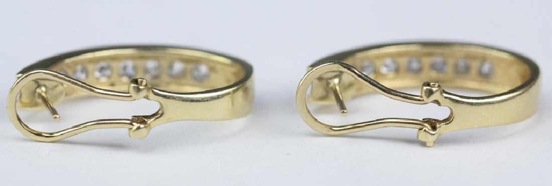 Ladies 14k Gold 1 1/3 Ct TW Diamond Hoop Earrings - 7