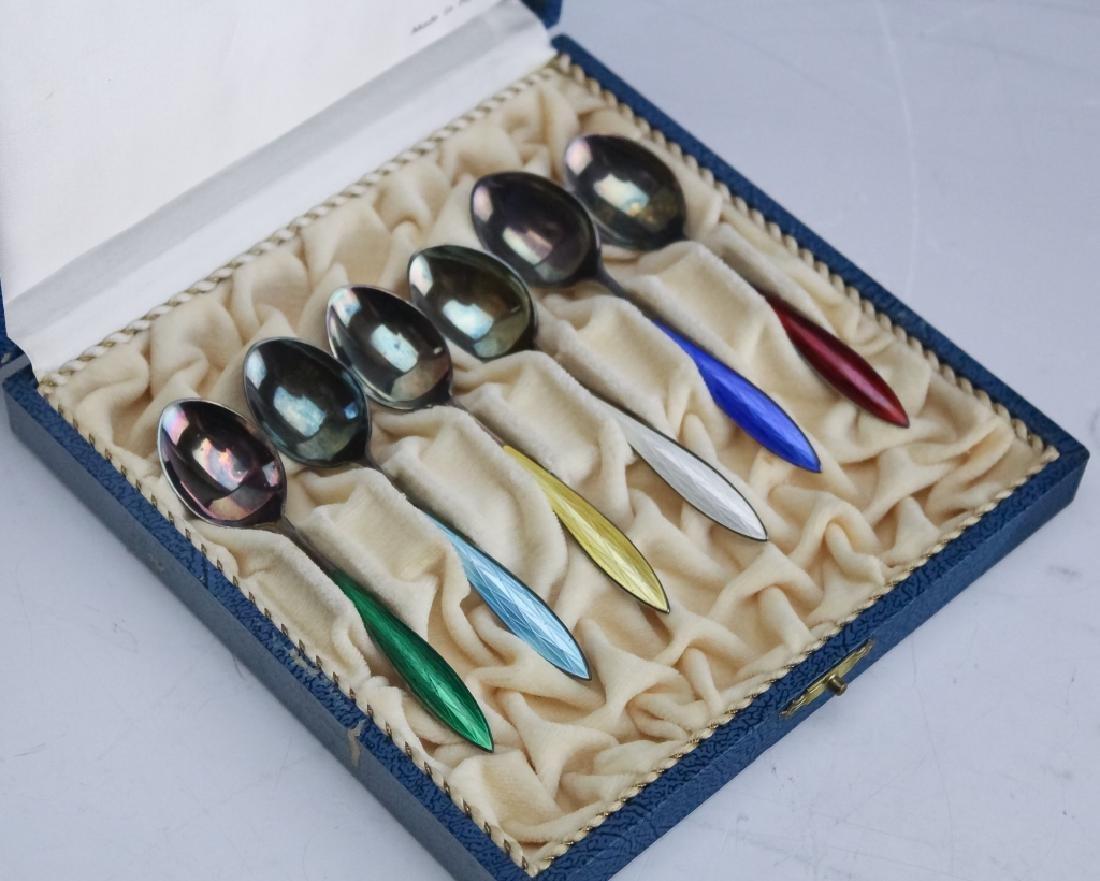 Norwegian Sterling Silver Enamel Demitasse Spoons