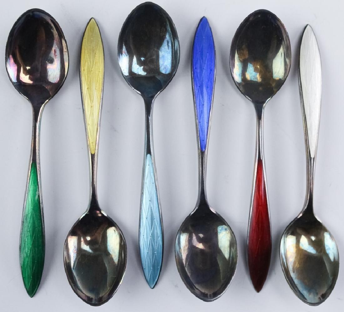 Norwegian Sterling Silver Enamel Demitasse Spoons - 2