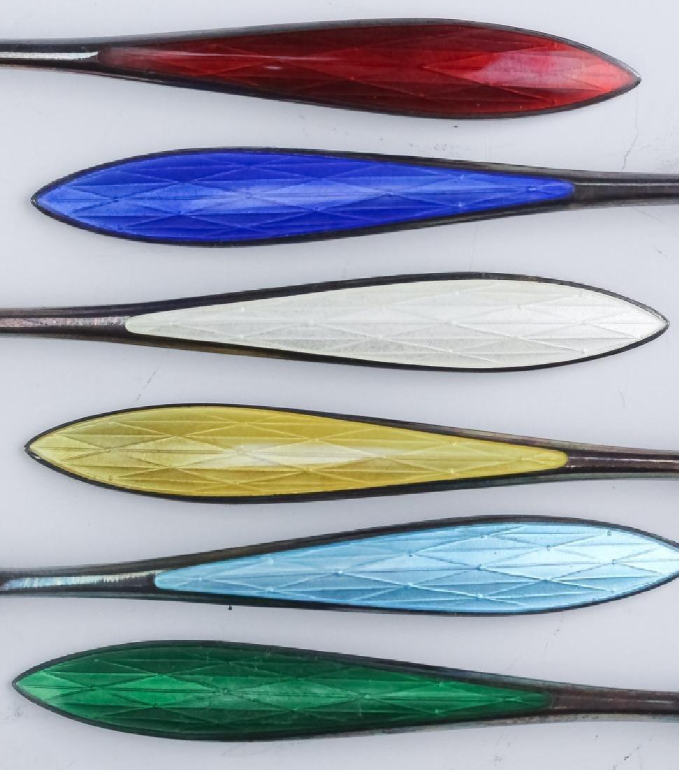 Norwegian Sterling Silver Enamel Demitasse Spoons - 6
