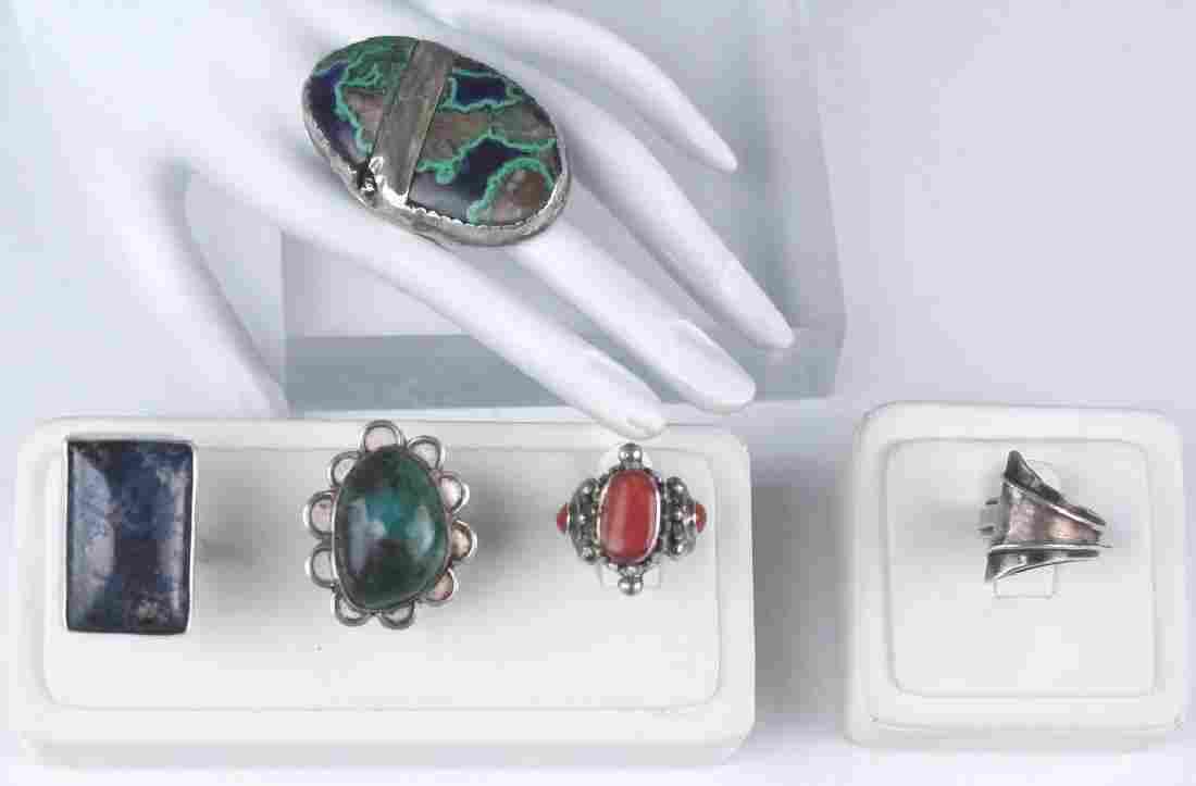 Lot of 5 Vintage Sterling Silver Gemstone Rings