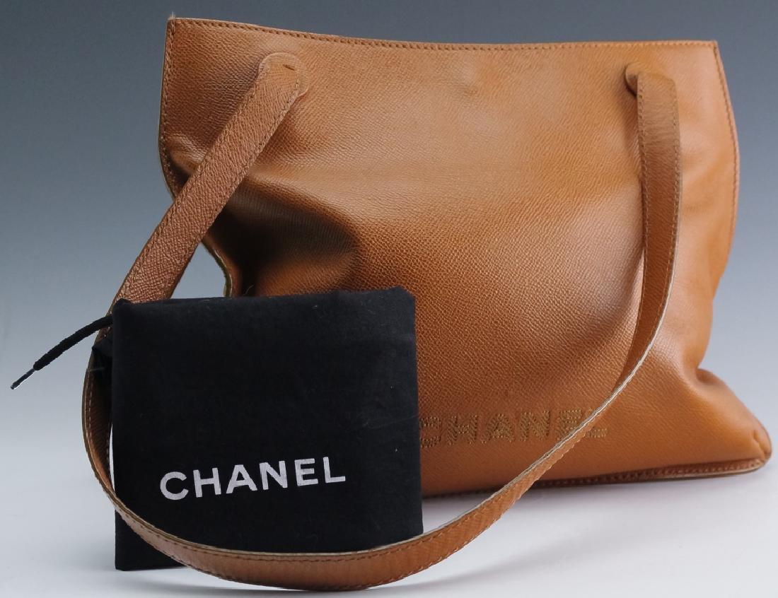 Chanel France Beige Leather Tote Bag Purse Handbag