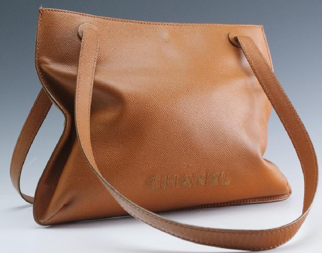 Chanel France Beige Leather Tote Bag Purse Handbag - 2