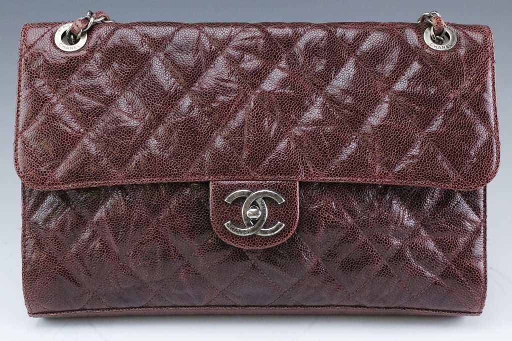 Chanel Jumbo Flap Shiva Burgundy Leather Handbag - 9