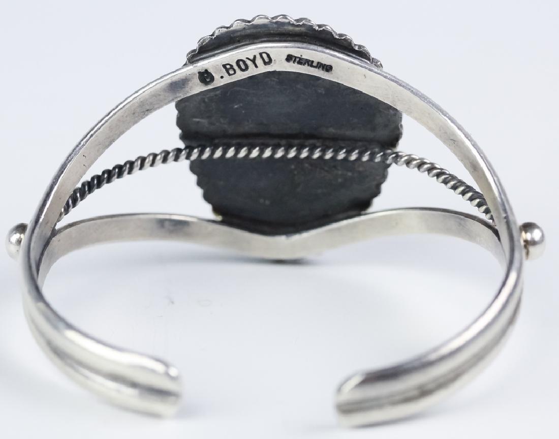 Signed Boyd Native American Silver Navajo Bracelet - 4