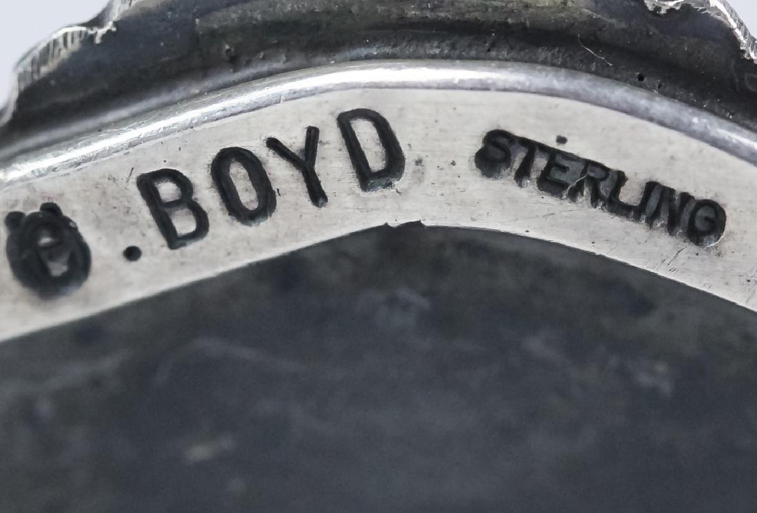 Signed Boyd Native American Silver Navajo Bracelet - 5