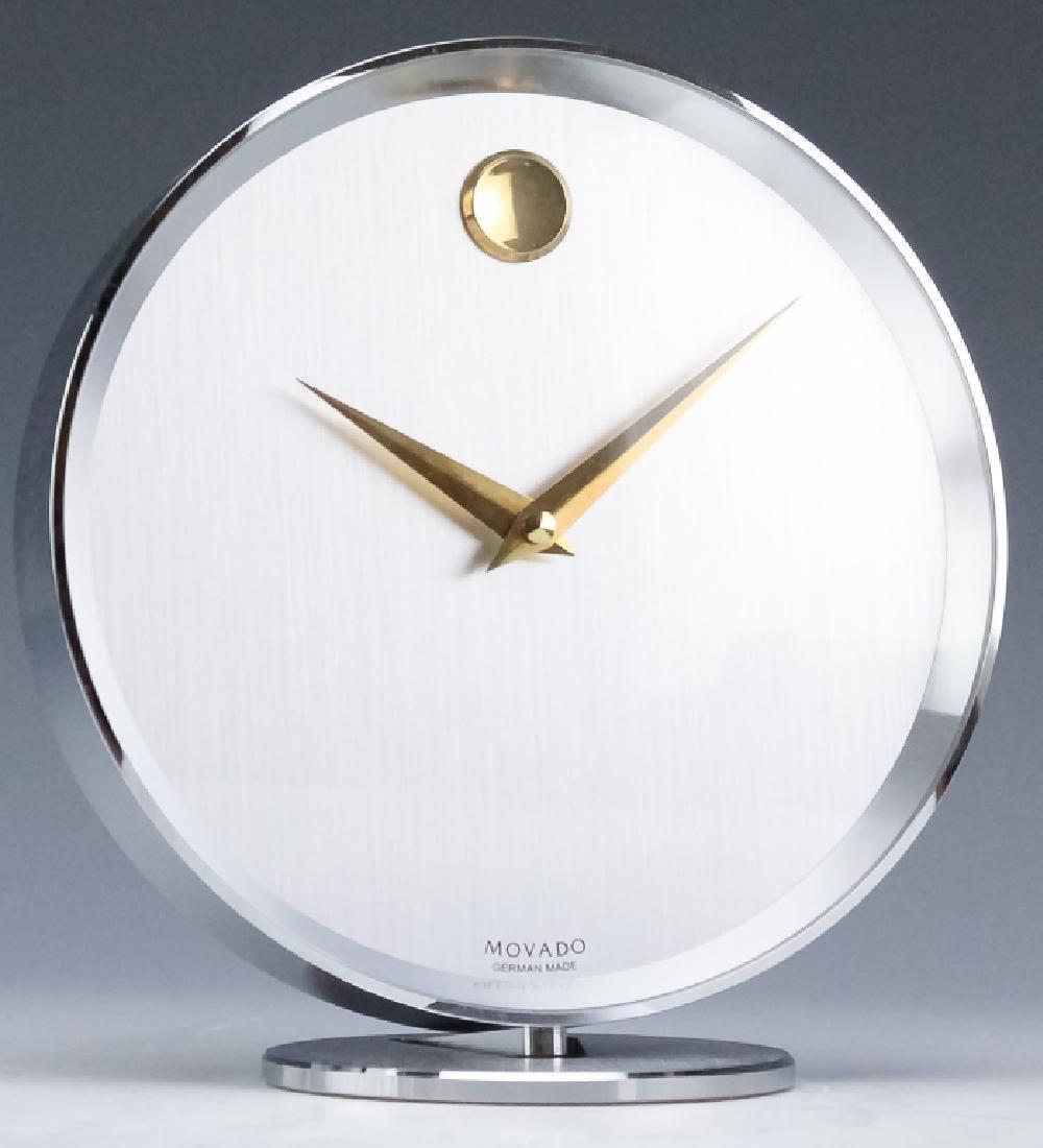 working movado museum dial silver tone desk clock rh liveauctioneers com movado desk clock crystal
