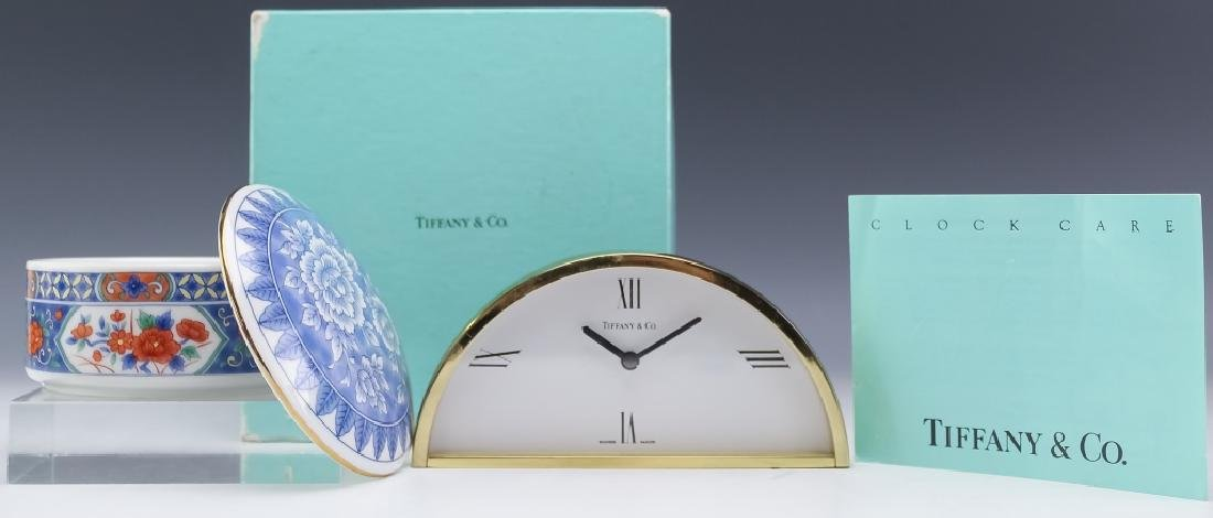 Tiffany & Co. Brass Desk Clock & Porcelain Box