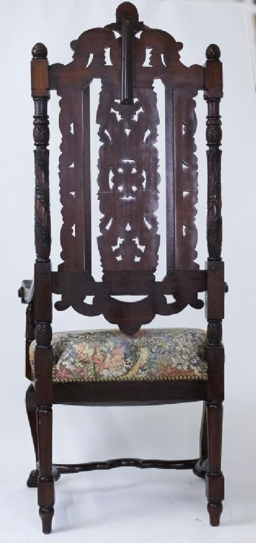 8 Ornate Carved High Back Mahogany Dining Chairs - 10