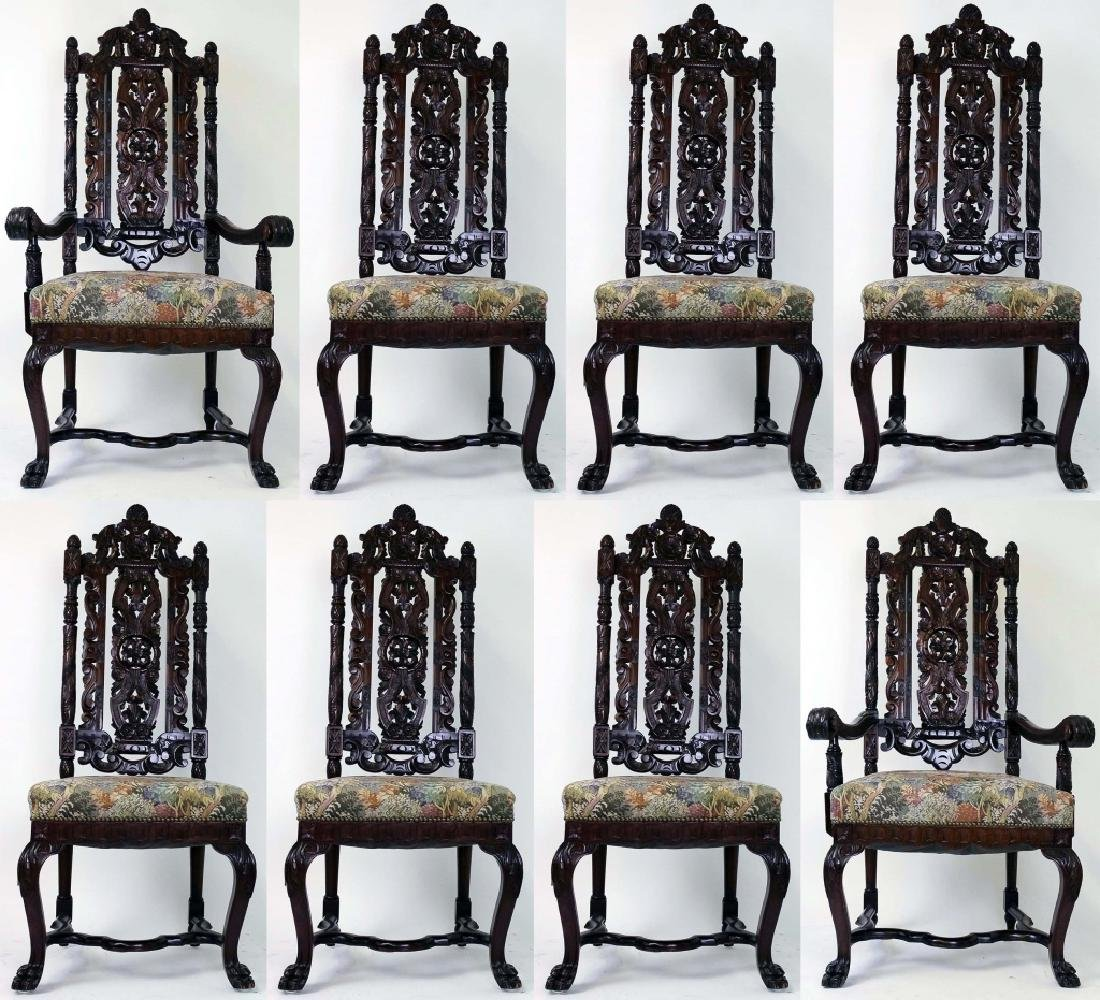 8 Ornate Carved High Back Mahogany Dining Chairs