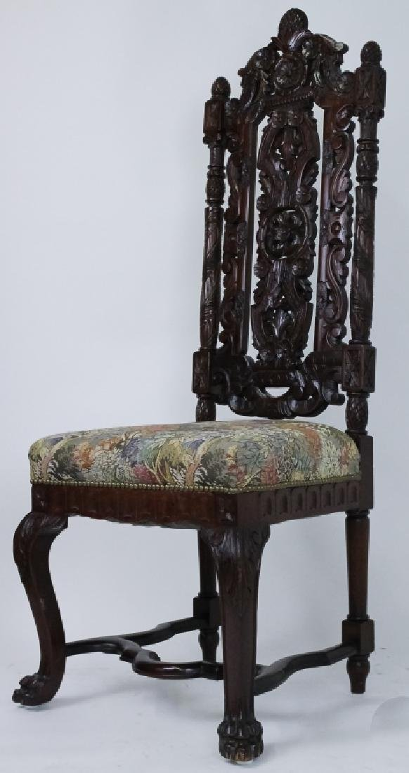 8 Ornate Carved High Back Mahogany Dining Chairs - 2