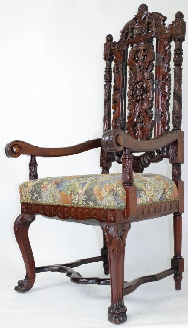 8 Ornate Carved High Back Mahogany Dining Chairs - 3