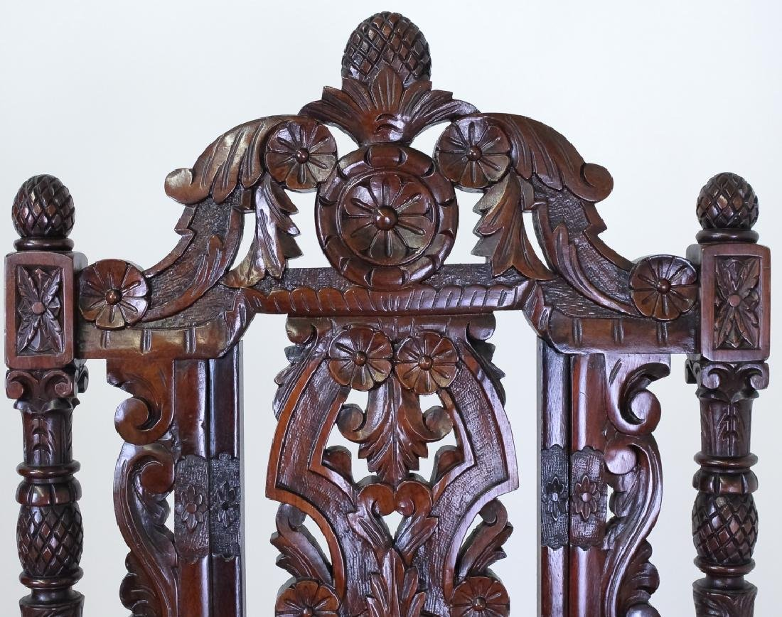 8 Ornate Carved High Back Mahogany Dining Chairs - 6