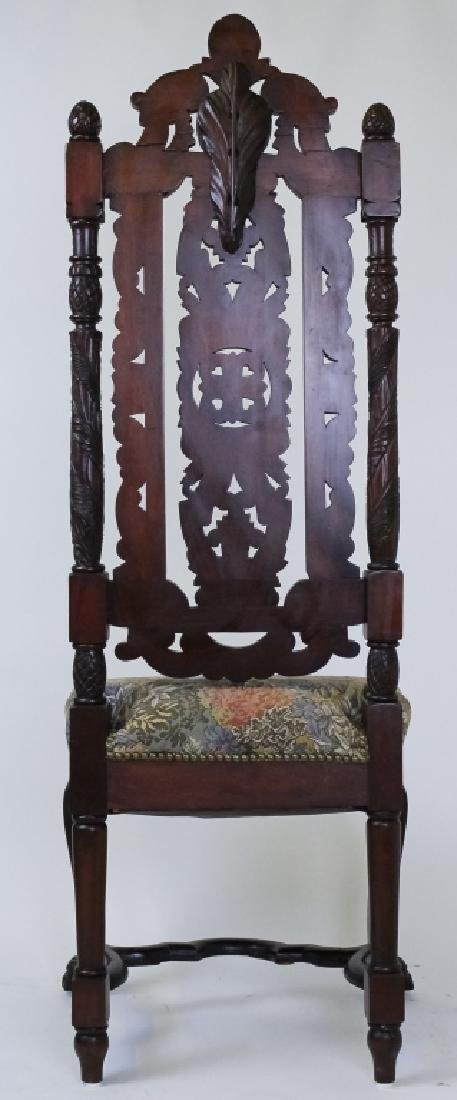 8 Ornate Carved High Back Mahogany Dining Chairs - 8