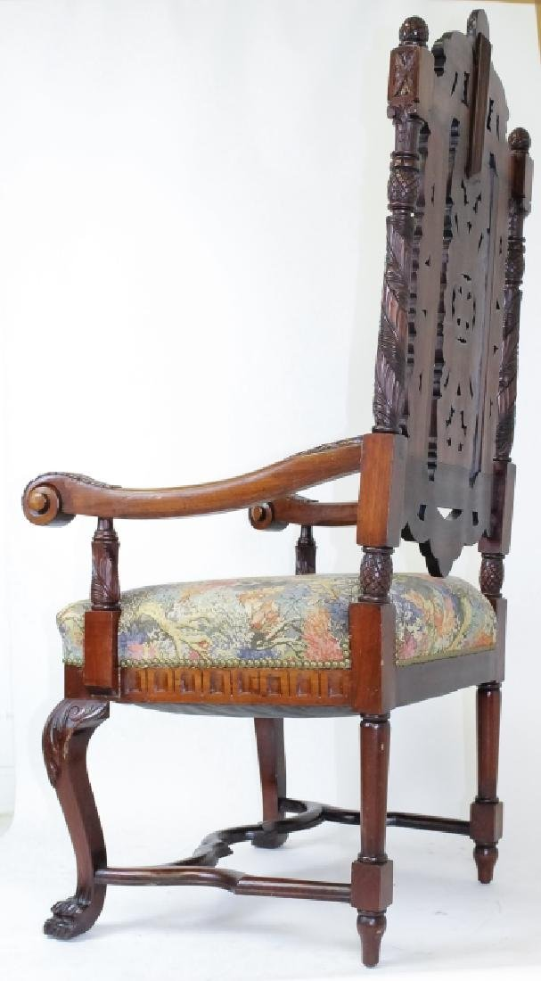 8 Ornate Carved High Back Mahogany Dining Chairs - 9