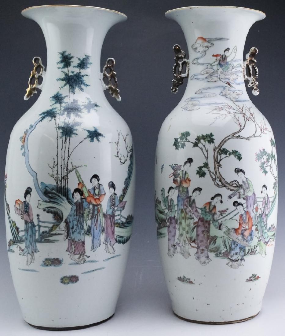 Pair Chinese Export Porcelain Famille Verte Vases