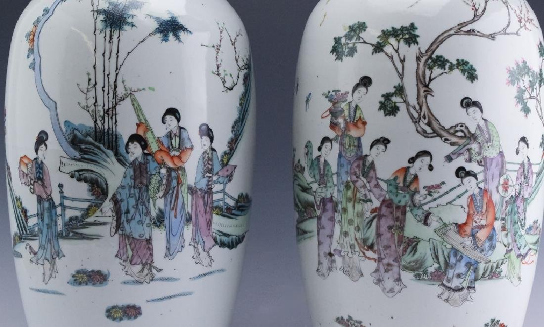 Pair Chinese Export Porcelain Famille Verte Vases - 2