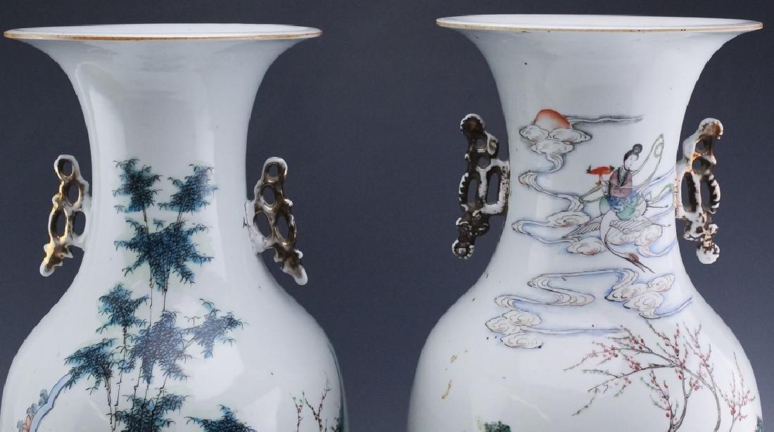 Pair Chinese Export Porcelain Famille Verte Vases - 3