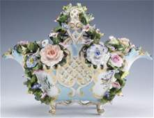19th C Meissen Reticulated Porcelain Floral Basket