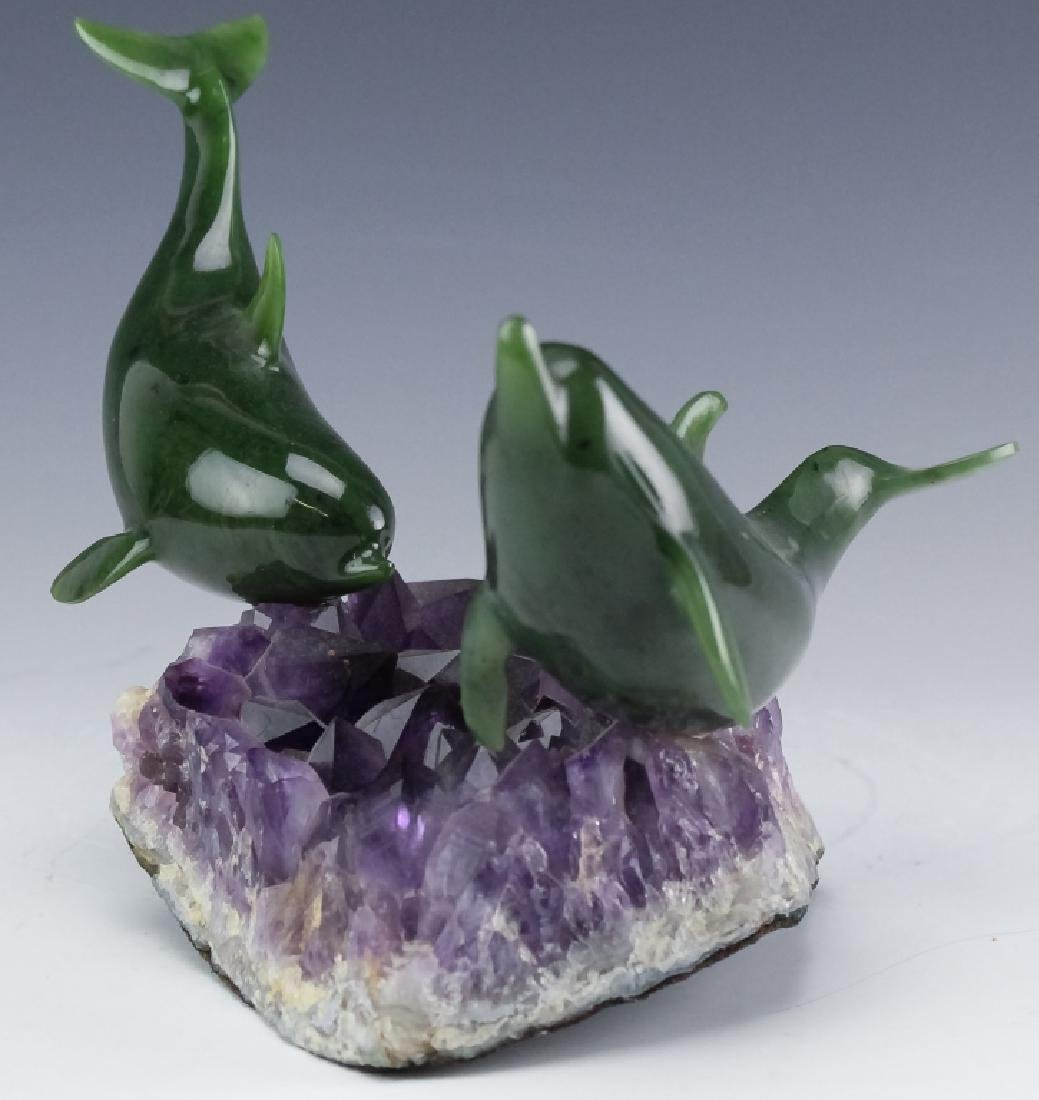 Lyle Sopel Jade Fish Sculpture Amethyst Geode Base