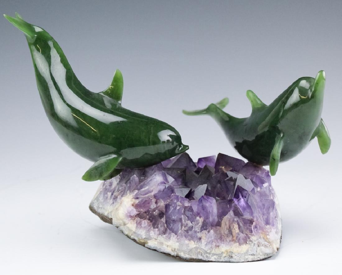 Lyle Sopel Jade Fish Sculpture Amethyst Geode Base - 2