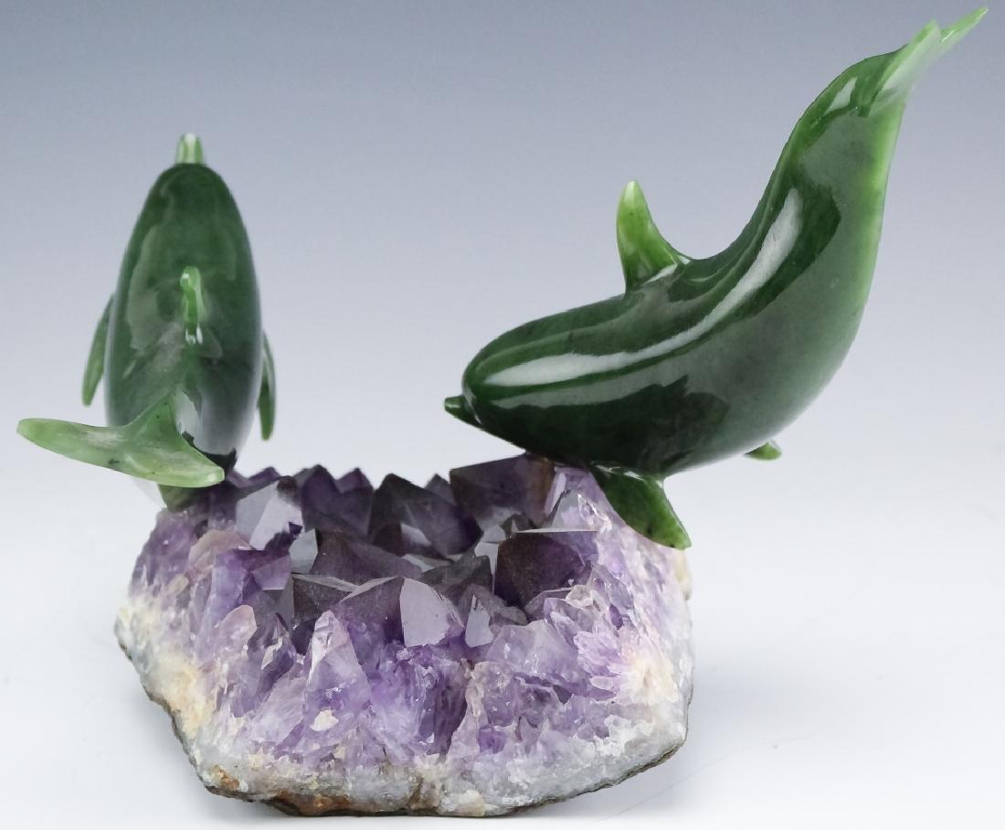Lyle Sopel Jade Fish Sculpture Amethyst Geode Base - 4