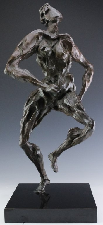Modern Figural Female Nude Bronze Sculpture SIGNED