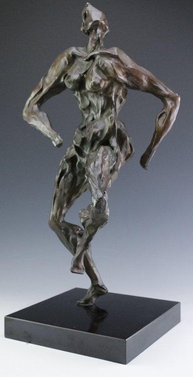 Modern Figural Female Nude Bronze Sculpture SIGNED - 2