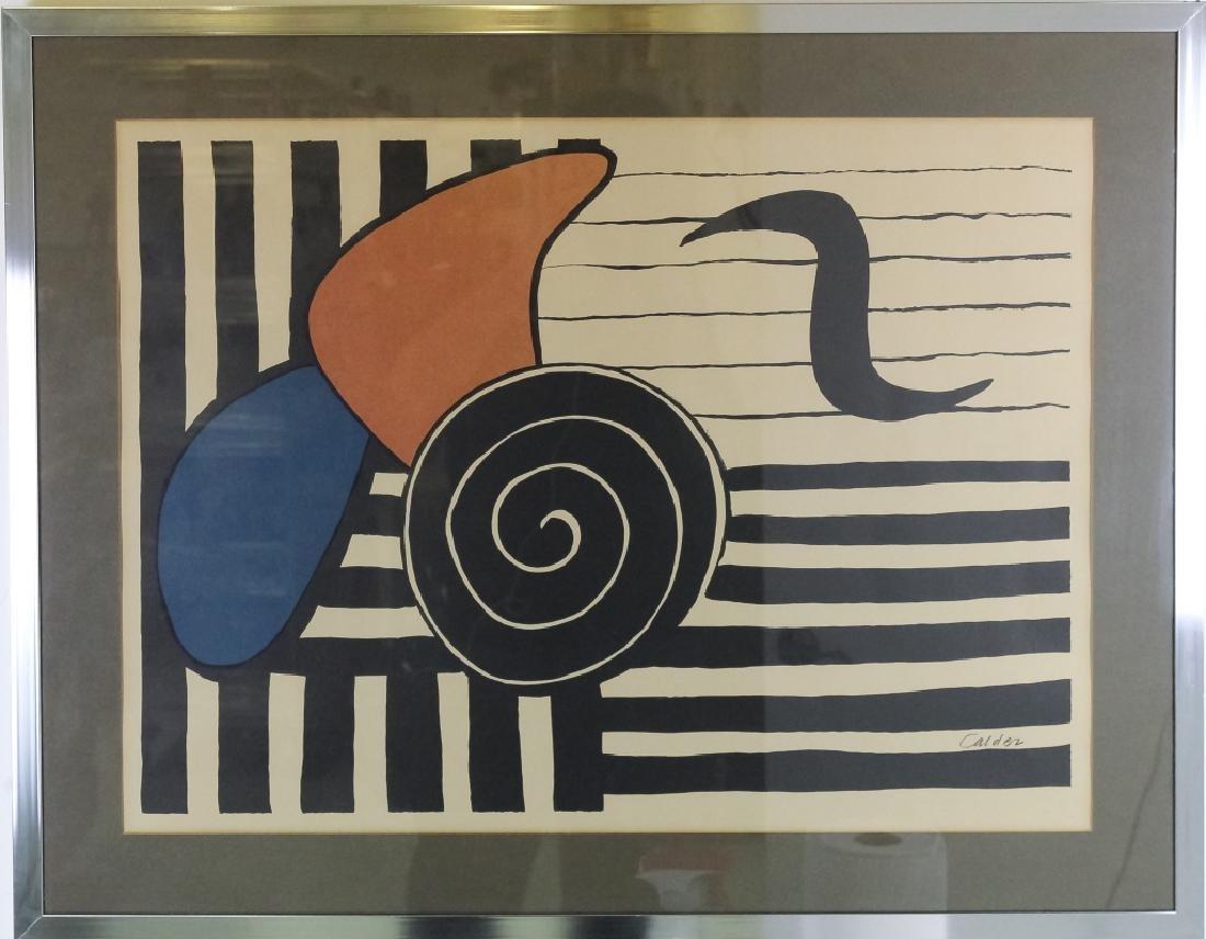 Alexander Calder Modernist Tri Color Lithograph