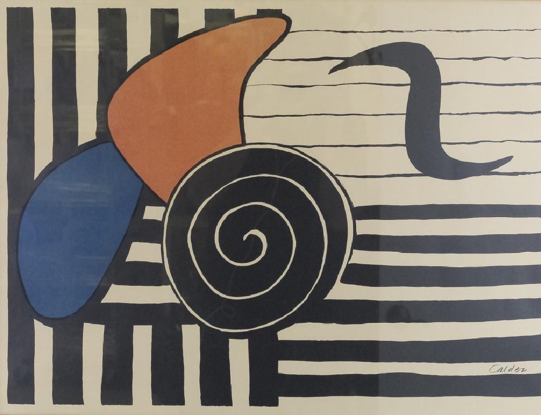 Alexander Calder Modernist Tri Color Lithograph - 2