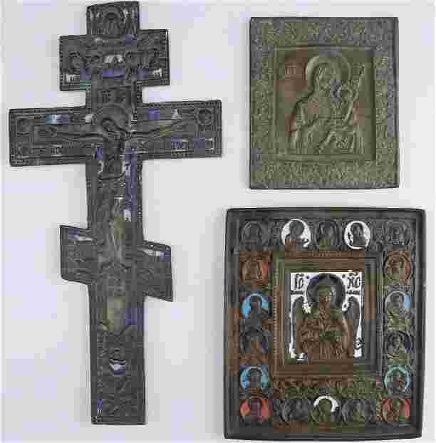 Vintage French Bronze and Enamel Crucifix, Mid Century