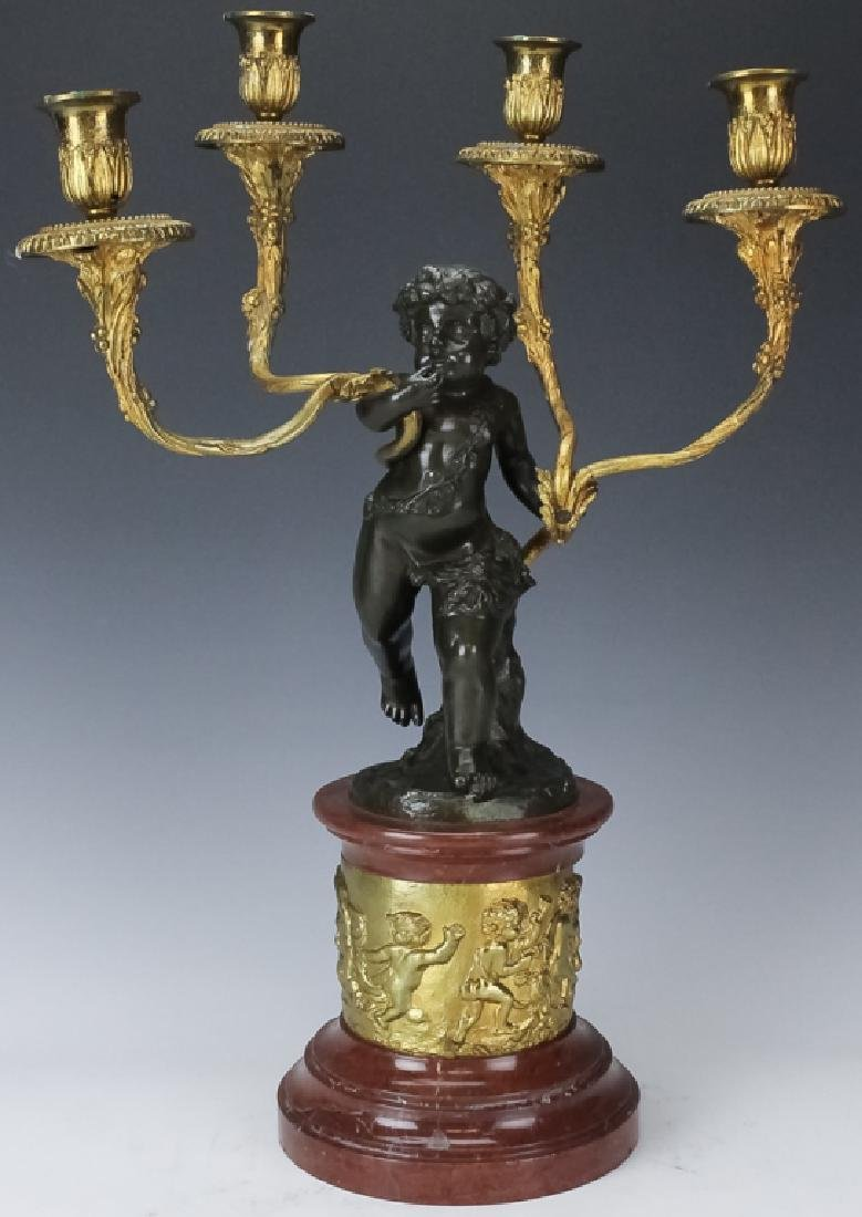 French Bronze Gilt Candelabra Signed Clodion