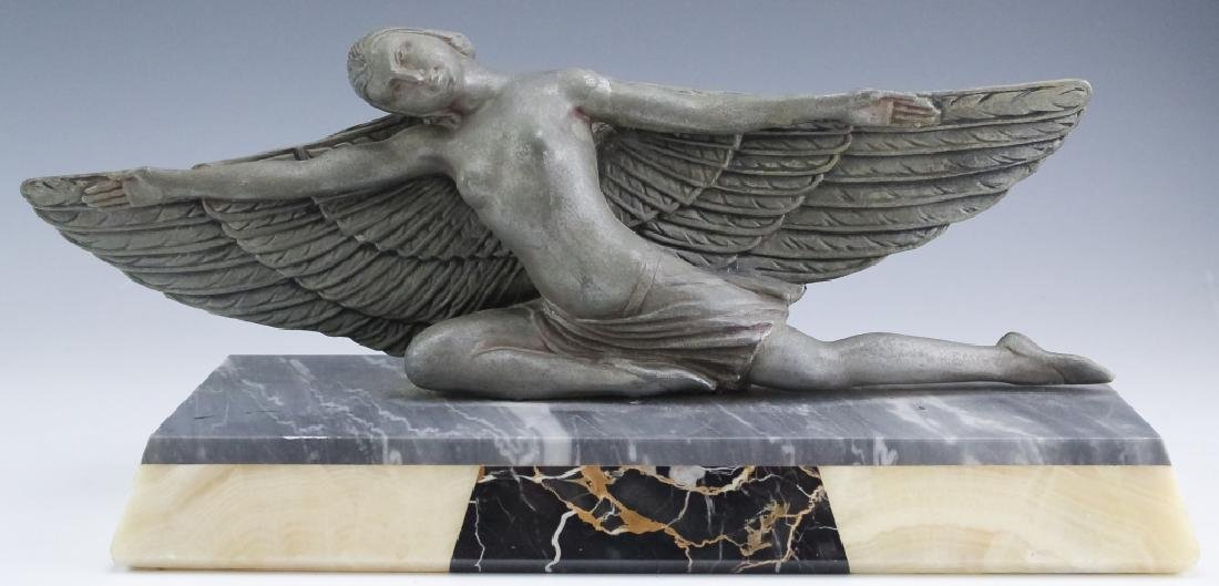 French Art Deco Metal Sculpture On Stone Base