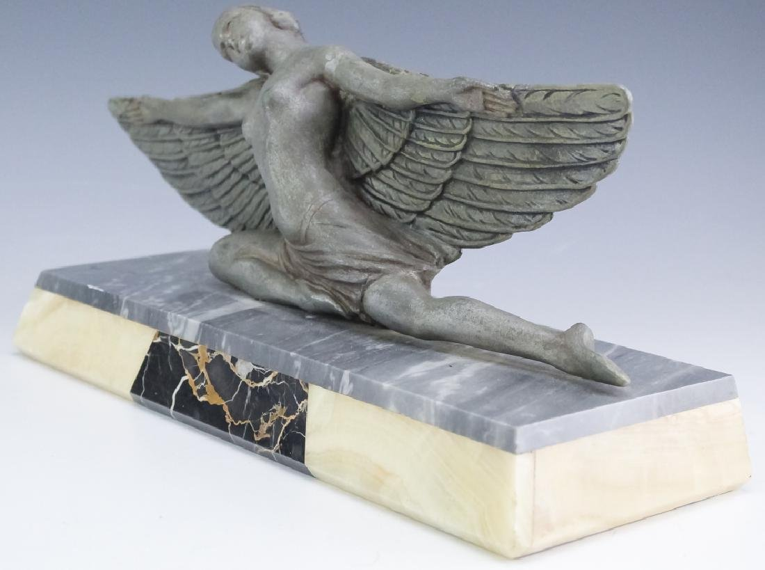 French Art Deco Metal Sculpture On Stone Base - 2