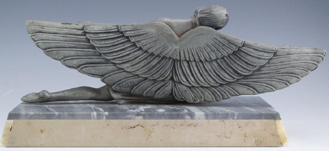 French Art Deco Metal Sculpture On Stone Base - 4