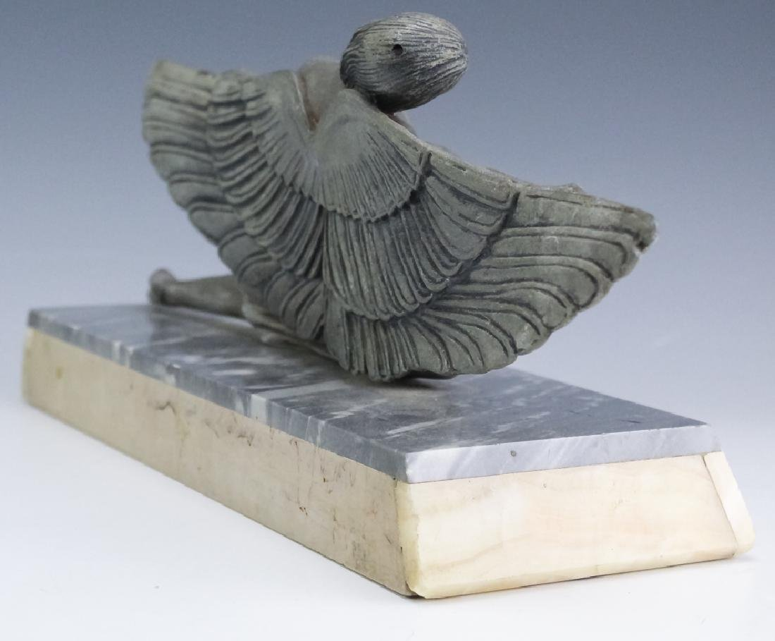French Art Deco Metal Sculpture On Stone Base - 6