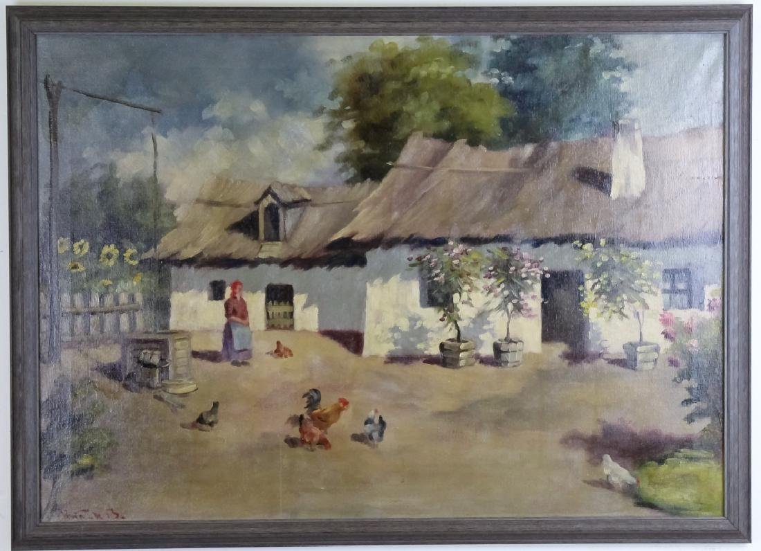 Artist Signed Oil On Canvas Farmhouse Painting